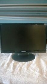 computer monitor wide screen lcd with 2 speakers, plus mains lead and data lead