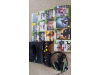 XBOX 360 Bundle, 13 Games,Turtle Beach Headset, One Custom Controller, One Standard Controller