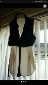 Pvc leather chiffon seethrough cutout blouse top shirt uk s