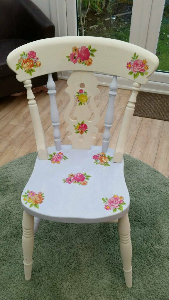Pine Chair decoupaged & painted in Annie Sloan
