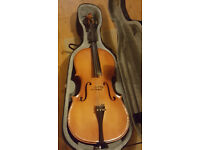 Cello with bow and case, used, good tone, ideal first purchase cello