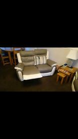 GREY AND WHITE TWO LEATHER RECLINING SOFAS