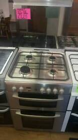 INDESIT 60CM GAS DOUBLE OVEN COOKER IN SILVER