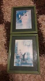 X2 framed pictures for bathroom