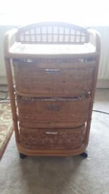 Cane and wicker 3 drawer storage unit