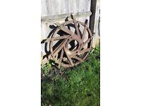 Vintage Iron Wheel Garden Feature