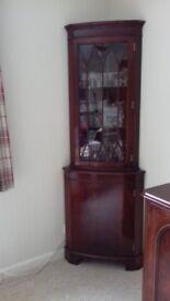 Mahogany Bow Fronted Glazed Corner Cabinet