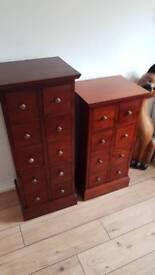 Pair of solid mahogany tall boy drawers