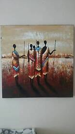 African people picture oil, red orange 60cmx60cm