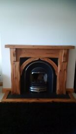 Wooden Fire surround and gas fire