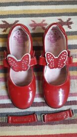 LELLI KELLY INTERCHANGEABLE STRAP RED LEATHER PATENT MARY JANE UK-13 (32F)