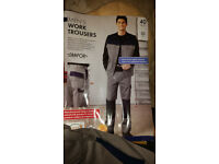 Men's Work Trousers, grey cotton twill, side, hip, leg pockets 40 waist, reg leg.
