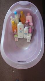 Baby bath with baby bath products