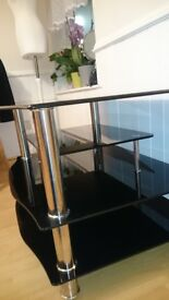 Black TV glass table