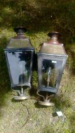 Pair of victorian porch lamps
