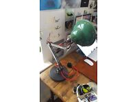 Rare Vintage Retro Industrial Anglepoise based desk lamp - teal with red cord