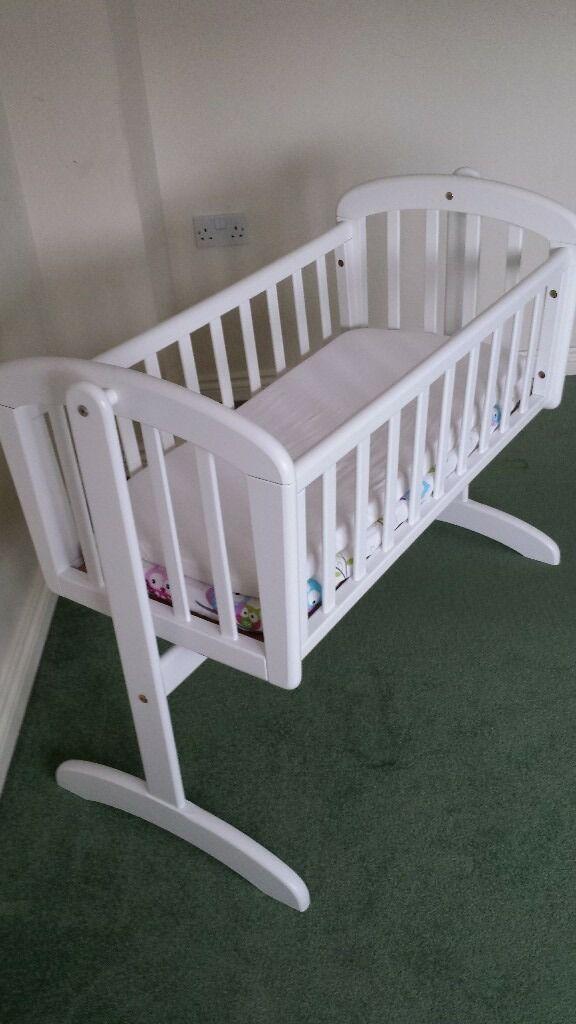 Baby's white wooden Swinging Crib