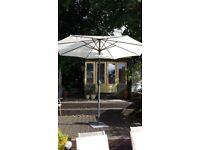 Large garden parasol with base