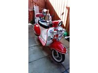 50cc scooter/moped ajs modena 50 red/white 2015 low miles.