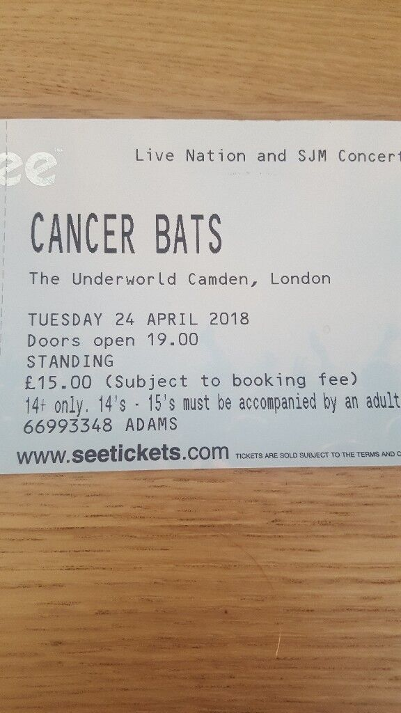 2 tickets for CANCER BATS on Tuesday 24th April 2018 at Underworld Camden London
