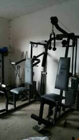 Weight machines, free weights and kick/punch bag, easily dismantled, first to see will buy.