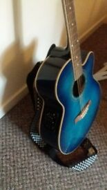 Ibanez full size electro acoustic guitar. Blue. Excellent condition.
