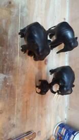 Carved woodern elephants