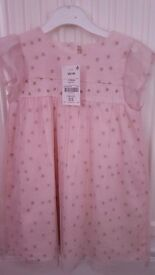 Girls next pink dress with gold stars 12-18 months brand new never been worn still with tags