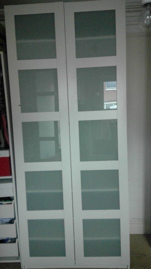 Ikea pax bergsbo frostglas  Ikea Pax Double Wardrobe with Bergsbo frosted glass doors and ...
