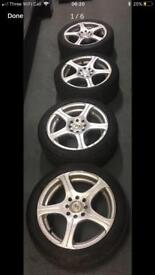 Clio fitment alloys x4 195/15 tyre and bolts included