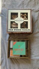 New poker set & IQ wooden puzzles