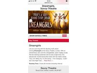 1 x ticket for Dreamgirls @ the Savoy Theatre, London. 8th September 2018 @ 2.30. Grand Circle, J