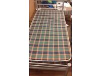 Single metal bed and mattress