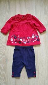 Baby outfit. Top and leggings. First size.