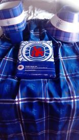 Brand new single bed Rangers football club duvet set, and matching curtains, lamp and ceiling light