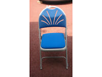 Folding chairs, grey metal frame, blue padded seat