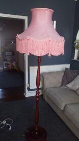 Large vintage wooden floor light lamp with pink retro shade