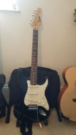 Electric Guitar - Black and White Encore Strat
