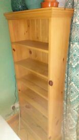 Hand waxed pine bookcase - great condition