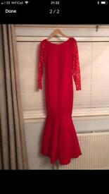 Red fishtail dress size 12/14