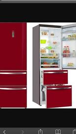 Haier red glass fridge freezer excellent condition