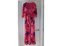 Sleeveless floor length dress with Bolero jacket, large size 10 with matching Fascinator & Jewellery