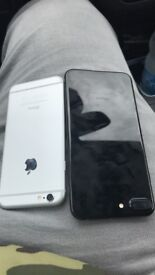 iPhone 7 Plus jet black and iPhone 6 silver Spares repairs