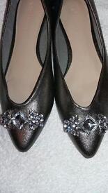 M&S Flat Shoes Size 6 (New) Metallic Colour