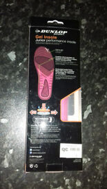 Gel insoles, Dunlop, junior performance. Can be cut to size from 3 to 6, antibacterial, never used.