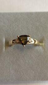 9K Tourmaline & Diamond Yellow Gold Ring. Size N