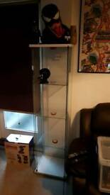 Ikea Detolf glass cabinet white with lights