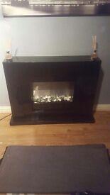 Black high gloss fireplace
