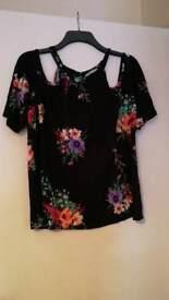 George Asda floral top. Cold shoulder. UK16