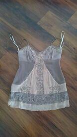 Beige/Taupe sequin Karen Millen silk top